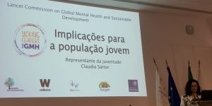 Claudia speaking during the Portugeuse launch of the Lancet Commission Global Mental Health Report